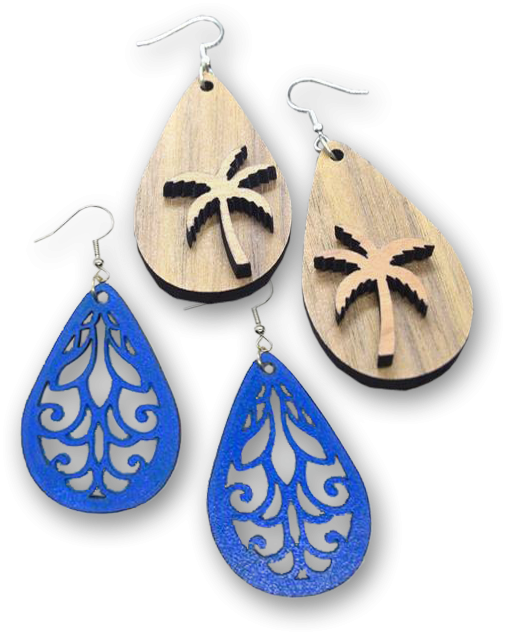 Palm Trees and Scroll Design Earrings